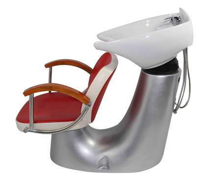 White/red shampoo salon barber chair : image 2