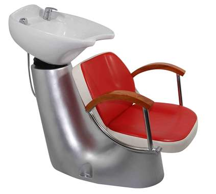 White/red shampoo salon barber chair : image 1