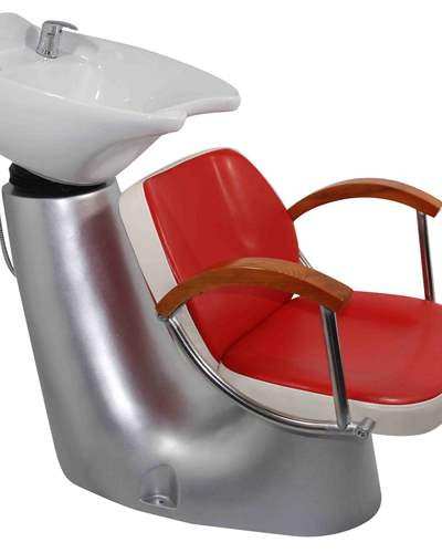 White/red shampoo salon barber chair